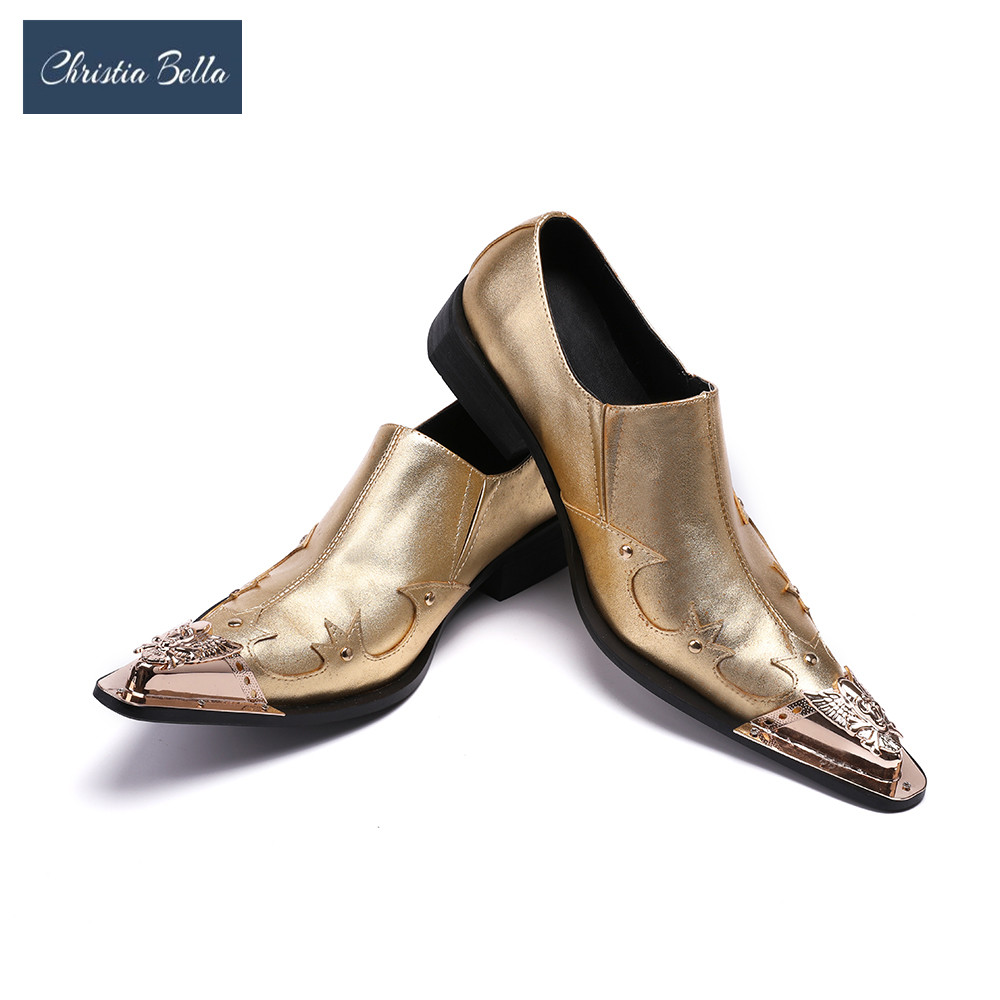 Christia Bella Newest Luxury Gold Crystal Men Dress Shoes Fashion Bling Bling Flat Shoes Slip-On Party Shoes Formal Shoes