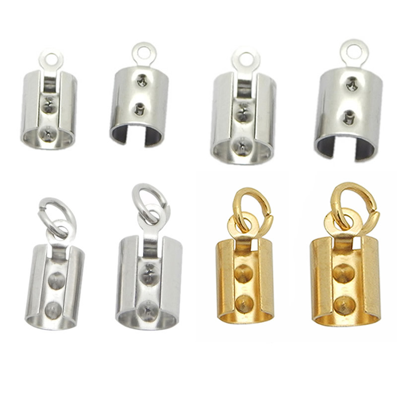 Stainless steel Cord Crimp Beads with Jump Rings caps Cord End Caps Fastener Clasps For Jewelry Making DIY Bracelet&Necklace 2pcs 316 stainless steel jewelry connector leather clasps for diy leather cord necklaces bracelets jewelry making