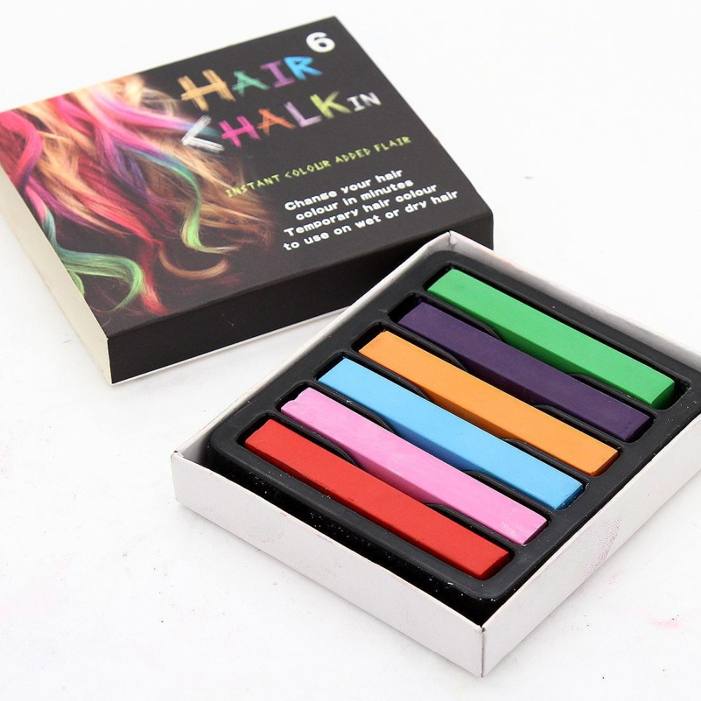 1 set of 6 global hair dyed hair color chalk chalk pink, purple, orange, blue, green, pink