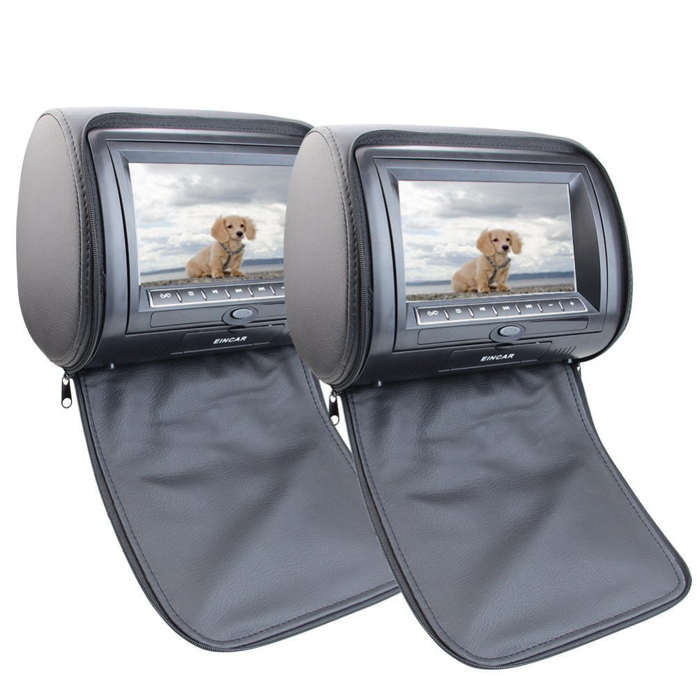 7 two Car DVD Headrest Car Pillow Monitors Region Free DVD player Dual Twin Screens USB SD IR FM 32 Bit Games+Remote control