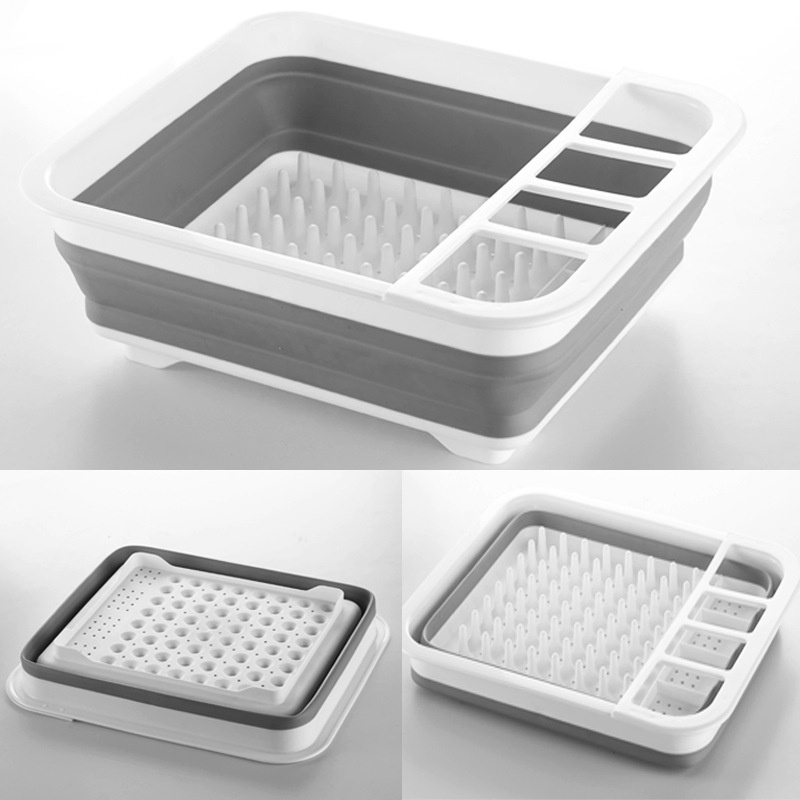 Urijk 1Pc Storage Drain Rack Plastic Dish Bowl Storage Holder Foldable Kitchen  Sink Rack Dish Cutlery