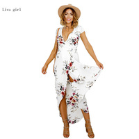 2017 Summer New Bohemian Dress White Print Dress Beach Summer Dress New Year Vintage Chifon White
