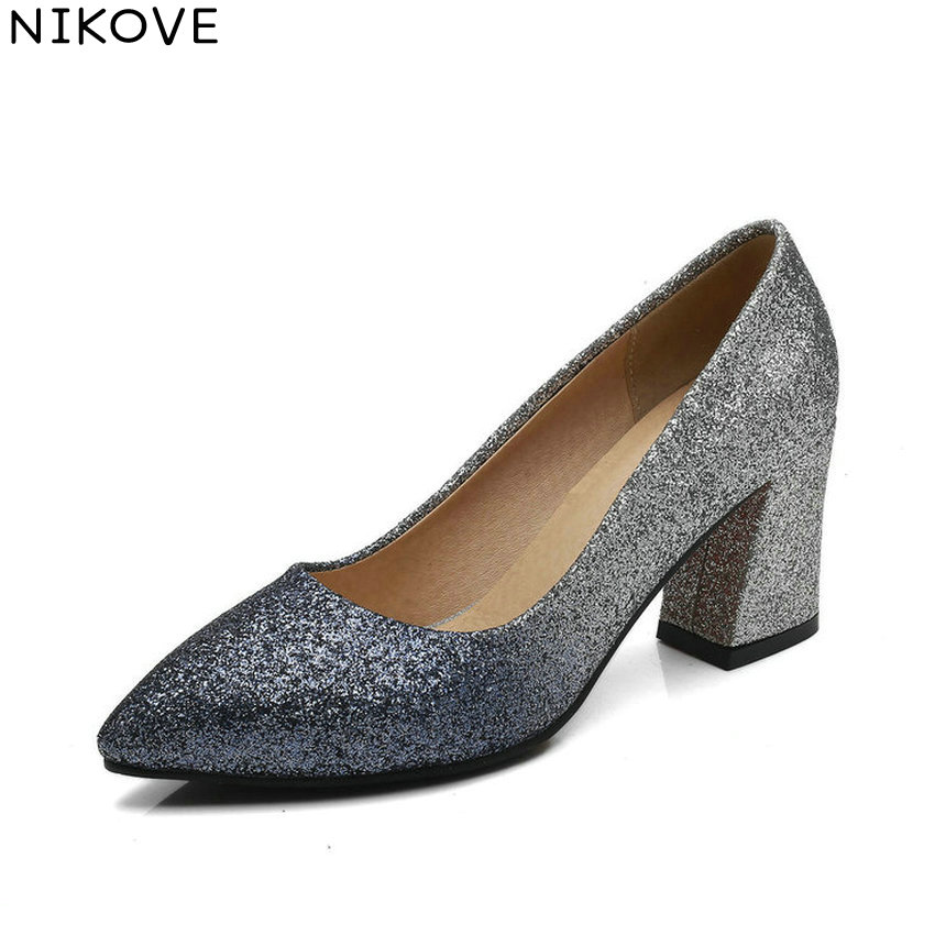 NIKOVE 2018 Women Pumps Sequins PU Bling Bling Shoes Square High Heels Pointed Toe Sewing Fashion Ladies Pumps Shoes Size 34-43