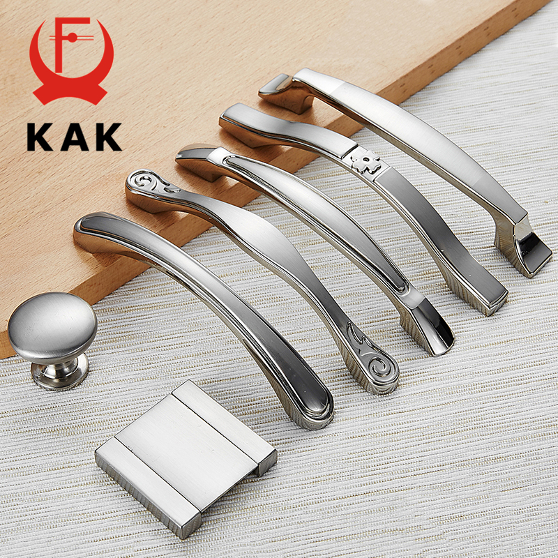 KAK Zinc Alloy Modern Cabinet Handles Kitchen Cupboard Door Pulls Drawer Knobs Handles Wardrobe Pulls Furniture Handle Hardware