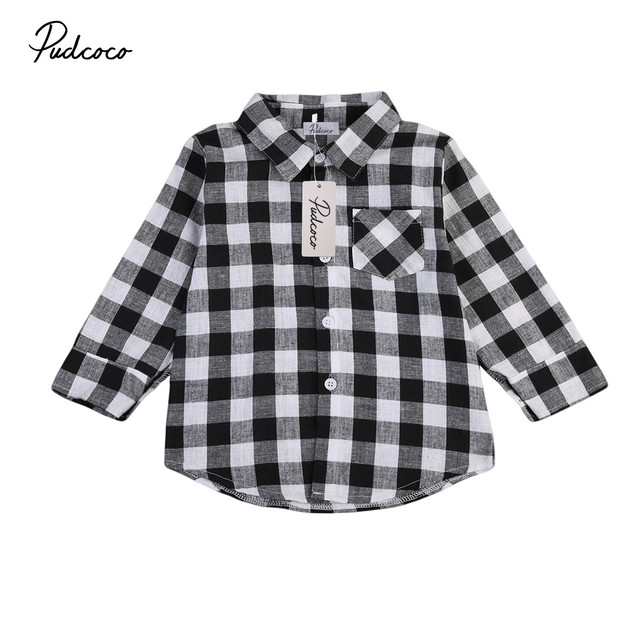 7751a621e Classic Plaid Printing Children Boy Girls Cotton Shirt Long Sleeve ...