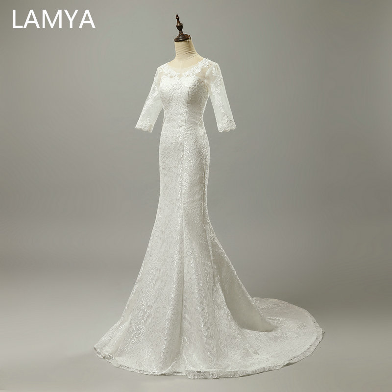LAMYA Cheap Plus Size Bridal Gowns Lace Mermaid Wedding Dresses Half  Sleeve Off-White Wedding Dress Princess Vestido De Noiva