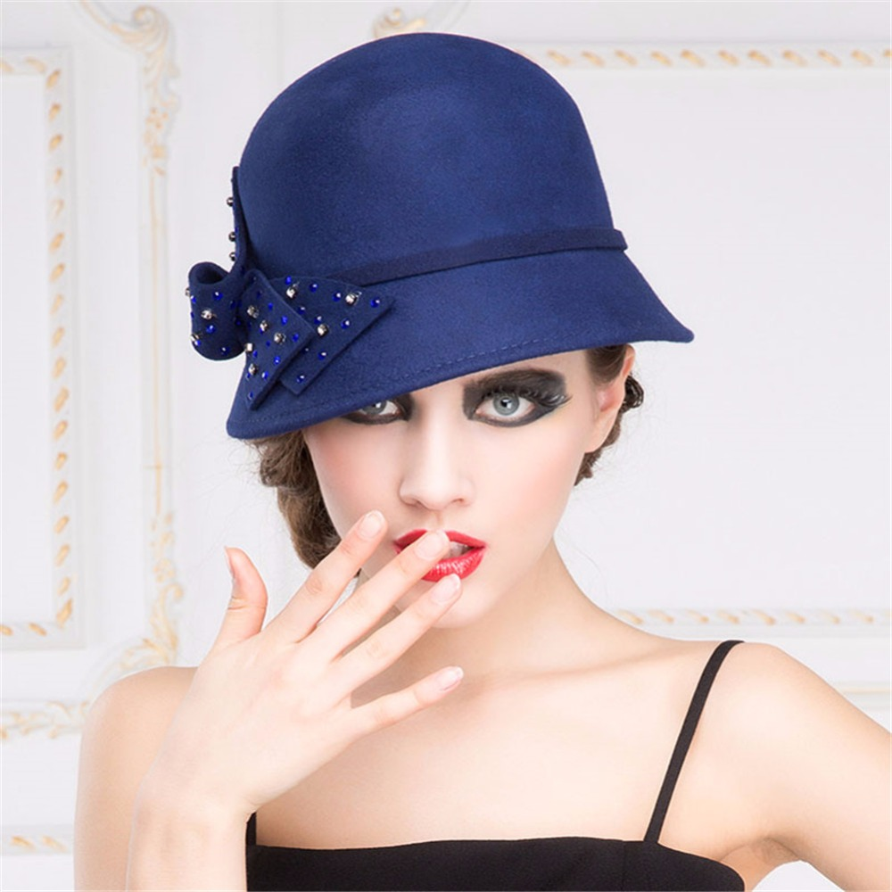 T103 Navy Blue Retro Womens Winter Warm Adjustable Band Wool Felt Cloche Hat-in  Fedoras from Women s Clothing   Accessories on Aliexpress.com  153b0d8b6a3