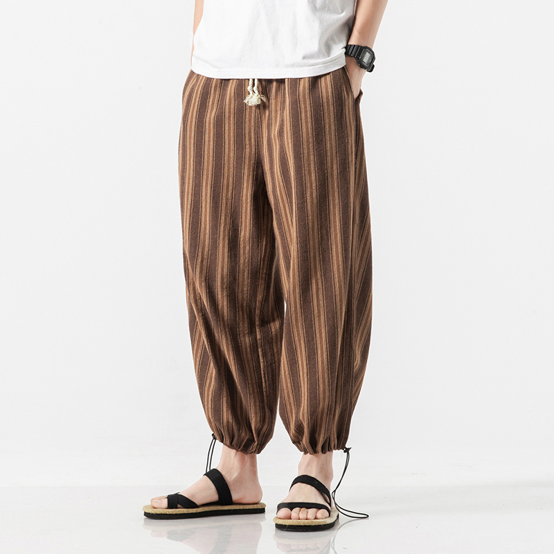 2019 New Arrive Men Lantern Linen Pants Summer Fashion Casual Japan Style Stripes Drawstring Leg Loose Big Size Harem Pants 5XL