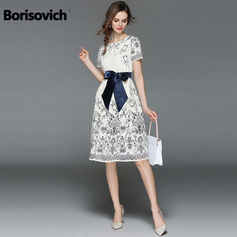 Borisovich New 2018 Fashion Clothes For Women High Quality A line Floral Print Dress Elegant Slim Knee Length Female Dress M397