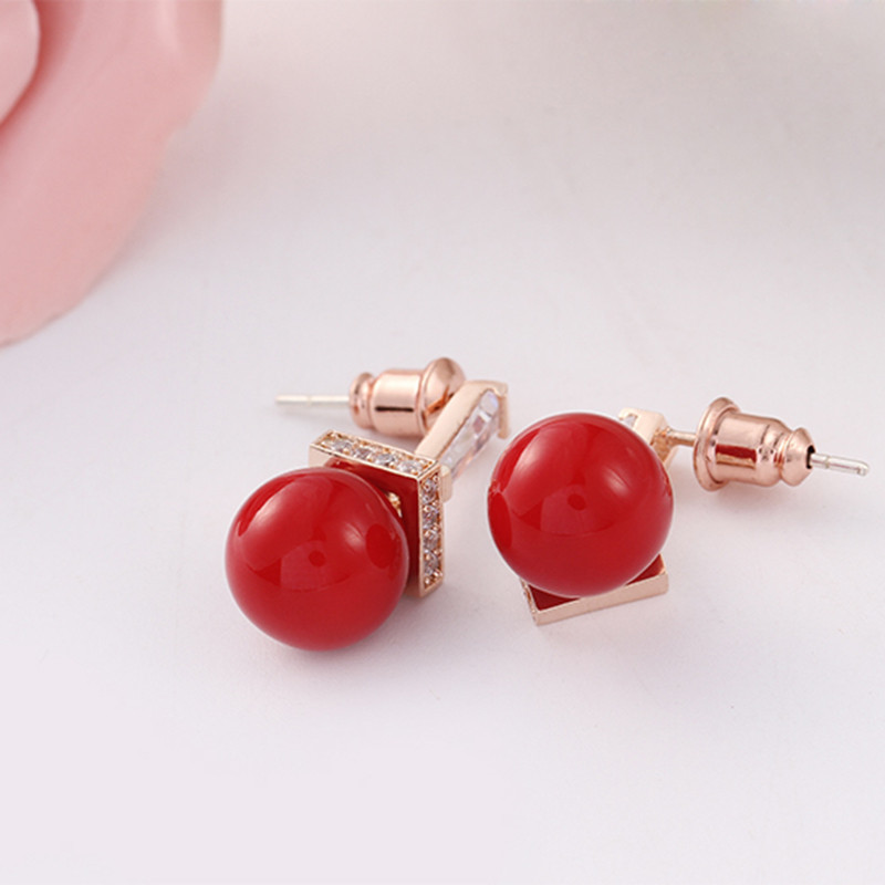 Charm Rose Gold-Color Red Simulated Pearl Pendent Drop Earrings for Women Wedding CLOVER JEWELLERY