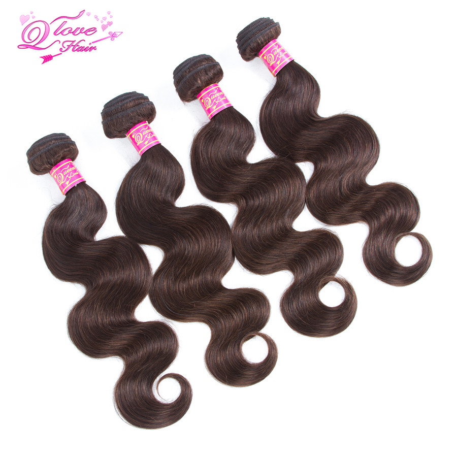 Queen Love Hair Brazilian Body Wave Hair Weave Bundles Human Hair Extension Pre-Coloed #2 Non-Remy Hair Free Shipping