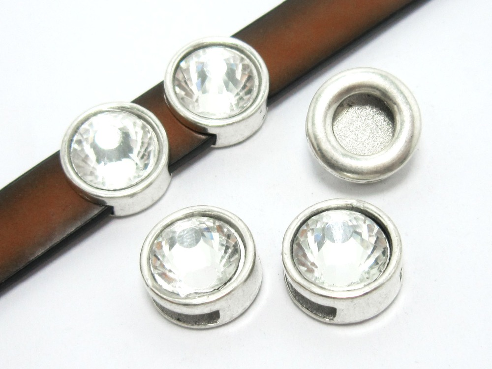 10mm Rhinestone leather slider 10x2mm leather findings FR09 in Jewelry Findings Components from Jewelry Accessories