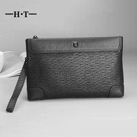 HT Cowhide Leather Clutches Bag Men Envelope Handy Bags Genuine Leather Long Purses Zipper Embossing Carteira Masculina Luxury