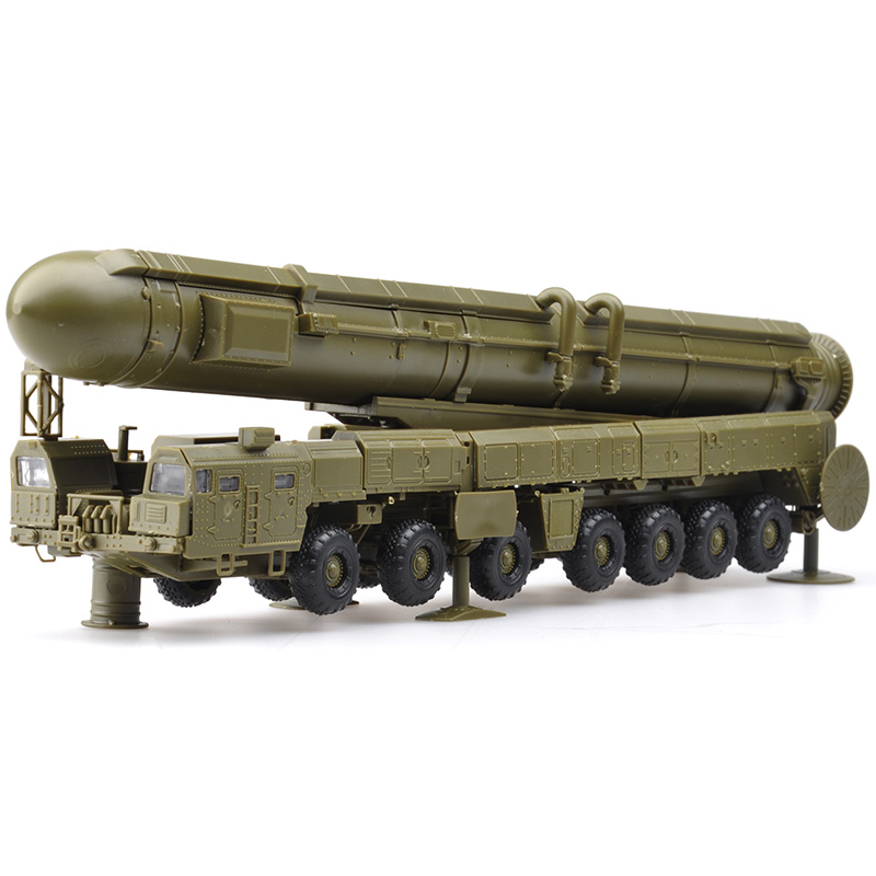 1:72 4D Plastic Color Assemble Military Model Russia White Poplar Intercontinental RT-2PM Missile Launch Vehicle Toy For Child