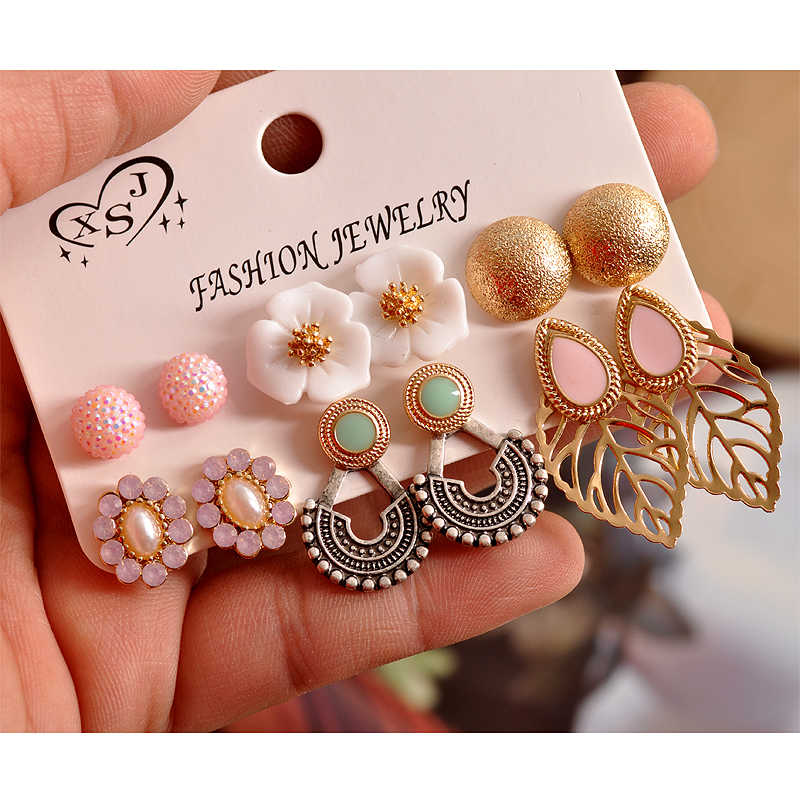 2019 new fashion gorgeous women's jewelry girl birthday party pearl ear stud mashup 6 pairs /set luxury earrings free shipping