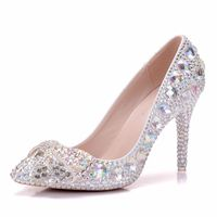 Foreign Trade Single Shoe Fine Stiletto Butterfly Tie Female Shoes Sharp Big Code Wedding Shoes Handmade Wedding Shoes