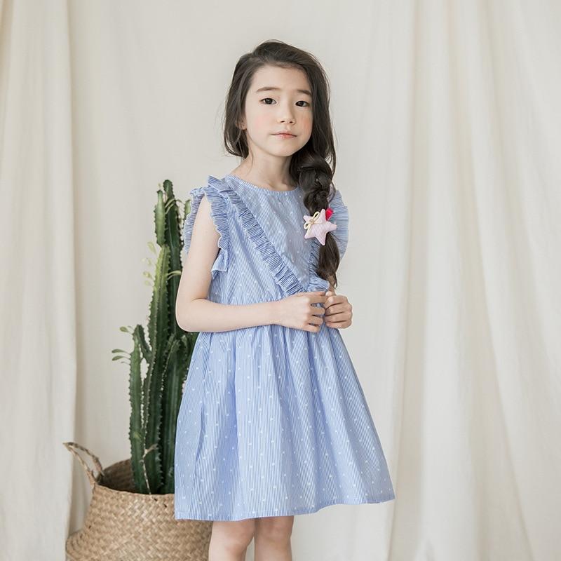 2018 Summer Girls Costumes Dress Sleeveless White Dress Frocks Age 5