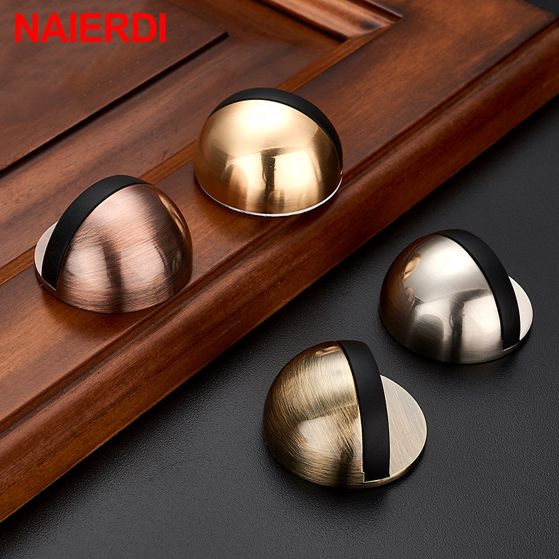 NAIERDI Non Punching Sticker Hidden Stainless Steel Rubber Door Stopper Door Holders Catch Floor Mounted Nail-free Door Stops