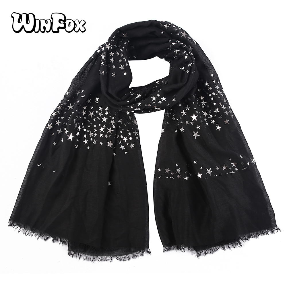 Winfox Fashion White Black Navy Star Print Foil Silver Long Scarfs Shawl For Church Women Female Head   Scarf     Wrap   Christmas Gift
