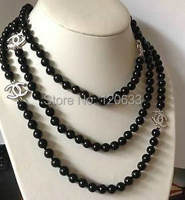 NEW Top Long beautiful 8mm Black shell pearl necklace 60 Silver hook wholesale women's jewelry