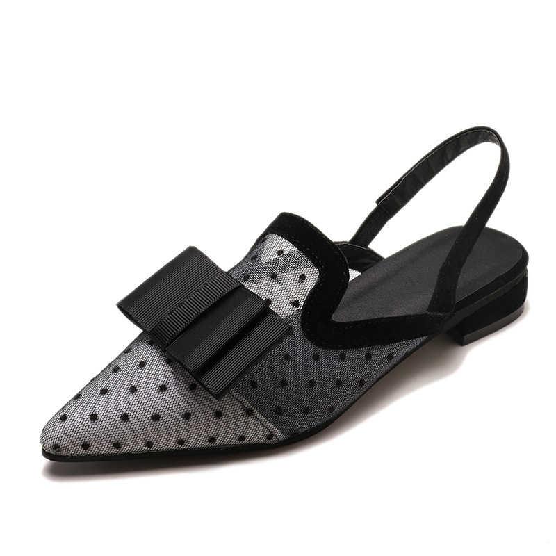 TANGNEST 2019 Kadın Arkası Açık Iskarpin Düşük Topuk Sandalet Kadın Nokta Ayak Rahat Papyon kadın file sutyen Nefes Moda plaj ayakkabısı XWZ6056