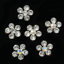 10pcs/lot 11*11mm Silver Alloy Rhinestone Buttons Embellishment for Clothing Craft DIY Hair Bow Wedding Shoes Decorative