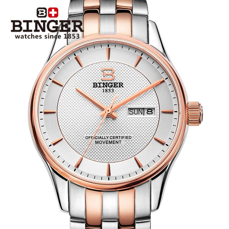 Switzerland men Wristwatches luxury brand watches BINGER luminous Automatic self-wind full stainless steel Waterproof B5008-3 switzerland men s watch luxury brand wristwatches binger luminous automatic self wind full stainless steel waterproof b106 2