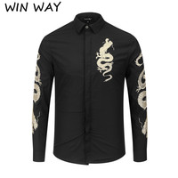WINWAY New original Golden Dragon embroidery Classic Fashion Young shirts Men's Black White Men's shirts