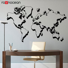 Creative Design World Map Outline Decal Vinyl Art Home Decor Living Room Wall Sticker Bedroom Dorm Office Mural Wallpaper 3220 3d modern europe architecture building wallpaper mural rolls for wall hotel living room cafe restaurant bedroom decor