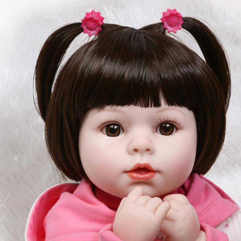NPKCOLLECTION 45CM silicone reborn baby doll reborn poppen toys for girls 18inch Lifelike baby born dolls Girl vinyl baby doll 18 inch 45cm lifelike marry wedding bride sd bjd vinyl reborn baby doll toys with dresses kjg89