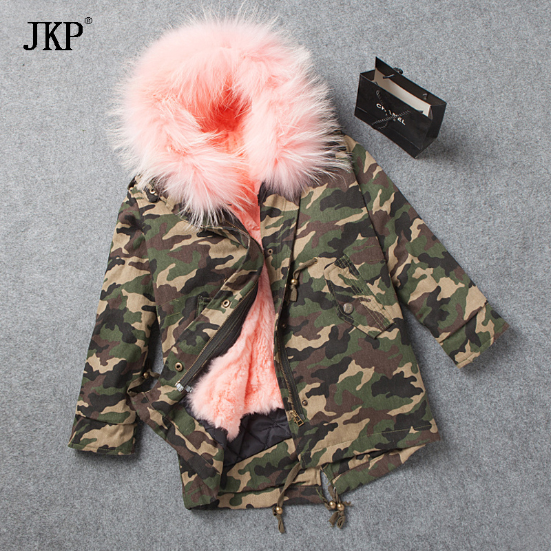Winter kids Fur Coat Raccoon fur collar Baby Girls  Rabbit Fur coat Liner Children Jackets For Cold Warm Coat For Boys new winter girls boys hooded cotton jacket kids thick warm coat rex rabbit hair super large raccoon fur collar jacket 17n1120