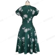 Vintage Elegant Floral Print Pleated Round neck vestidos