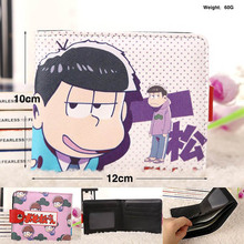 Hot Sale Anime Osomatsu San Synthetic Leather Short Exquisite Wallet/Purple Button Purse Free Shipping