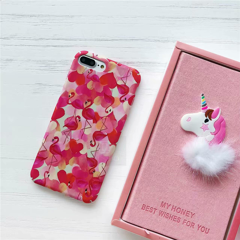 Cute Flamingo Cases For Iphone 6 6S Case Smooth Touch Hard Slim PC Full Cover Iphone 6 6S 7 8 Iphone X Fundas