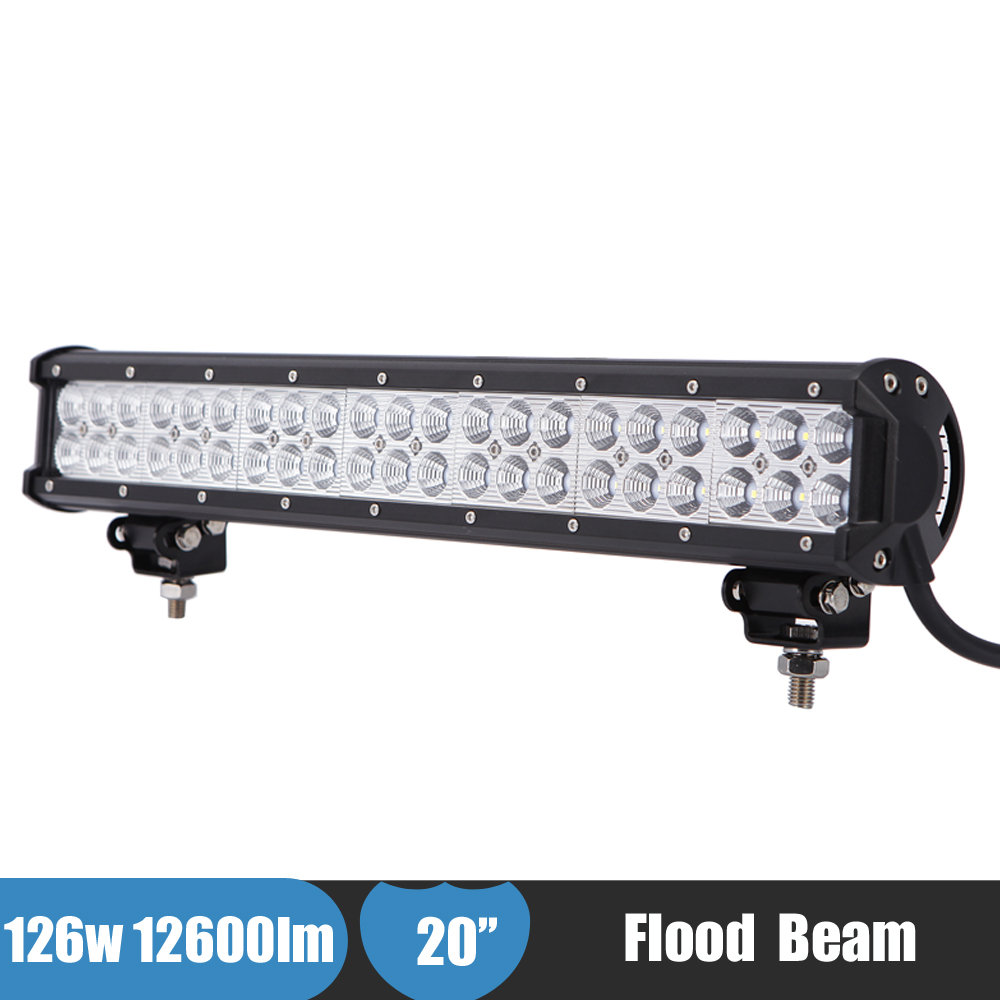 126W 20 Inch LED Light Bar Offroad Driving Light Flood Beam Truck 4x4 4WD ATV SUV Work Light for Chevy Silverado 2500HD Duramax super slim mini white yellow with cree led light bar offroad spot flood combo beam led work light driving lamp for truck suv atv