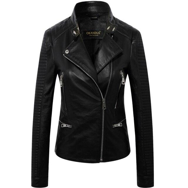 Frete grátis, estilo punk Marca de couro Genuíno das mulheres jaquetas curtas. plus size feminino macio da pele de carneiro magro, vendas. casaco de motociclista