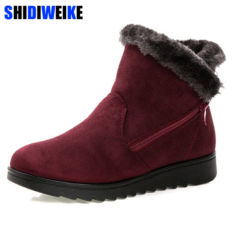 SHIDIWEIKE Women Winter Shoes Womens Ankle Boots The New 3 Color Fashion Casual Fashion Flat Warm Woman Snow Boots M255SHIDIWEIKE Women Winter Shoes Womens Ankle Boots The New 3 Color Fashion Casual Fashion Flat Warm Woman Snow Boots M255