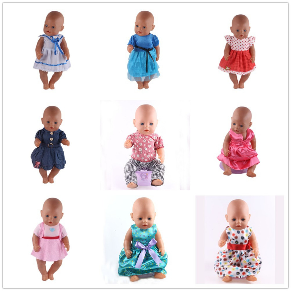 12 Style Doll Clothes Wear fit 43cm Baby Born zapf,18 American girl doll clothes, Children best Birthday Gift 2color choose leisure dress doll clothes wear fit 43cm baby born zapf children best birthday gift only sell clothes