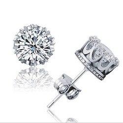 Women earrings jewelry sliver prata fashion jewelry round 2 carat cubic zirconia silver stud earrings.jpg 250x250