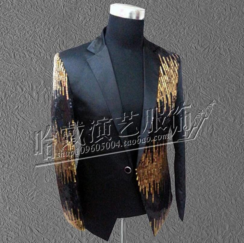 S-5XL Men Singer Red Black Blue Purple Sequins Suit Jacket Camisa Masculina Formal Dress The Host Dress Costumes