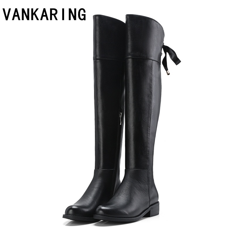 VANKARING new fashion winter warm snow boots women over the knee high boots black beige leather female square heels winter shoes new arrival winter flat heel over the knee women boots round toe snow boots knee high warm winter female boots black brown white