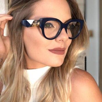 48dfad848 Kottdo Marca de Moda Sexy Gato Olho Mulheres Óculos de Resina Óculos de  grau Retro Limpar Óculos Vintage Vidros Ópticos Oculos