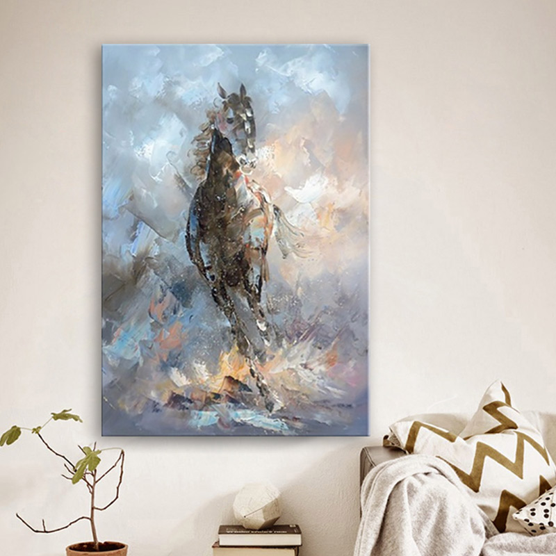 Us 54 29 39 Off Handmade Hand Painted Modern Abstract Wall Decor Fine Art Acrylic Oil Painting Horse Silver White Artwork Canvas Painting Art In