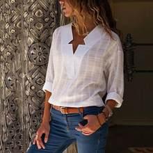 9b3f0f483e9fcf Casual blouse Shirts women White plus Size Loose long sleeve V Neck bluses Women's  Shirt Top shirt blouse women Blouses Shirts