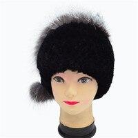 Women Beanies Rex Rabbit Fur Hats Russian Hat Ushanka Natural Stripe Fur Caps Lady Winter Fur