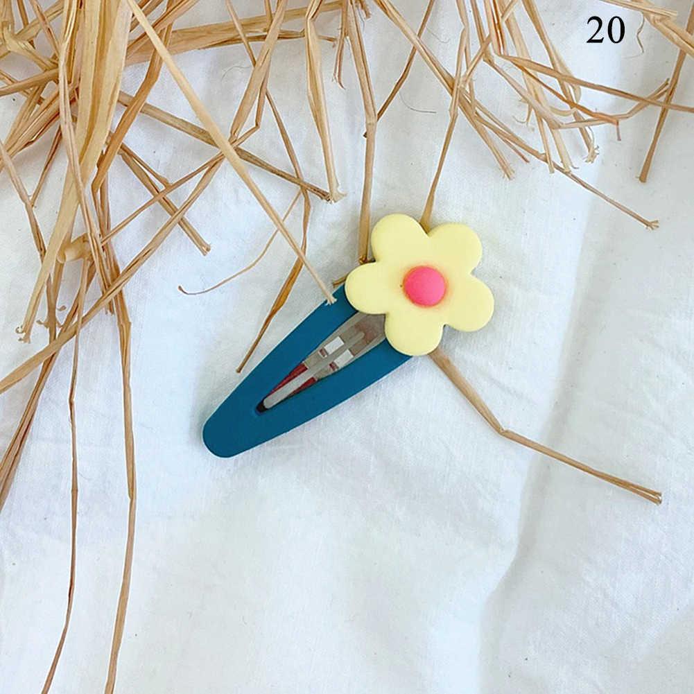 Horquillas coreanas de moda de 2019 accesorios para el cabello de flores bonitas de resina de dibujos animados para niños, horquillas hechas a mano de Color caramelo para niñas