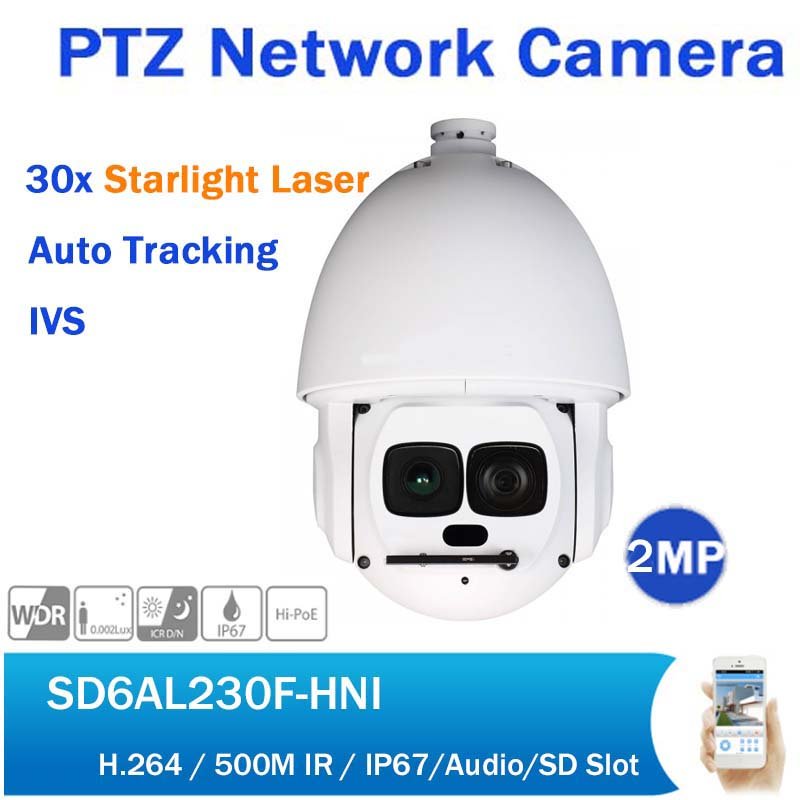 DH SD6AL230F-HNI 2MP Auto Tracking PTZ IP Dome Camera Full HD 1080P 30X Starlight Laser PoE Network Camera up to 500M IR dh english version 4mp ptz 30x network ir ptz speed dome ip camera sd59430u hni to replace sd59430u hn auto tracking