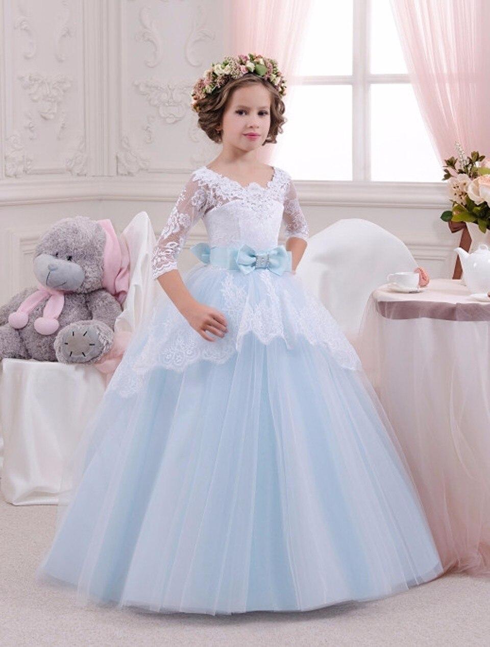 Sweet Tulle Ball Gown Half Sleeves Light Blue Open Back Gorgeous Scoop Chapel Train Little   Flower     Girl     Dress