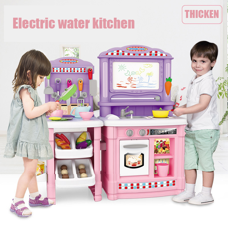 North American style children electric kitchen toys simulation circulation water design kids pretend play toys
