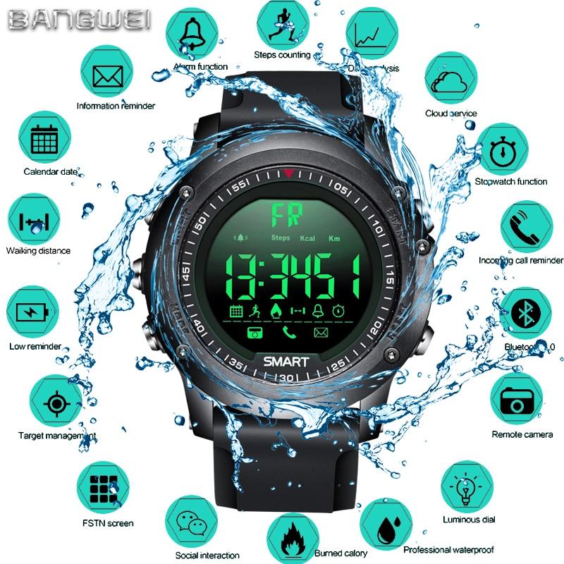 цена BANGWEI Sports Smart Watch Men Multifunction Digital Clock Bluetooth Pedometer IP68 Waterproof Smart Electronic Watch Relogios